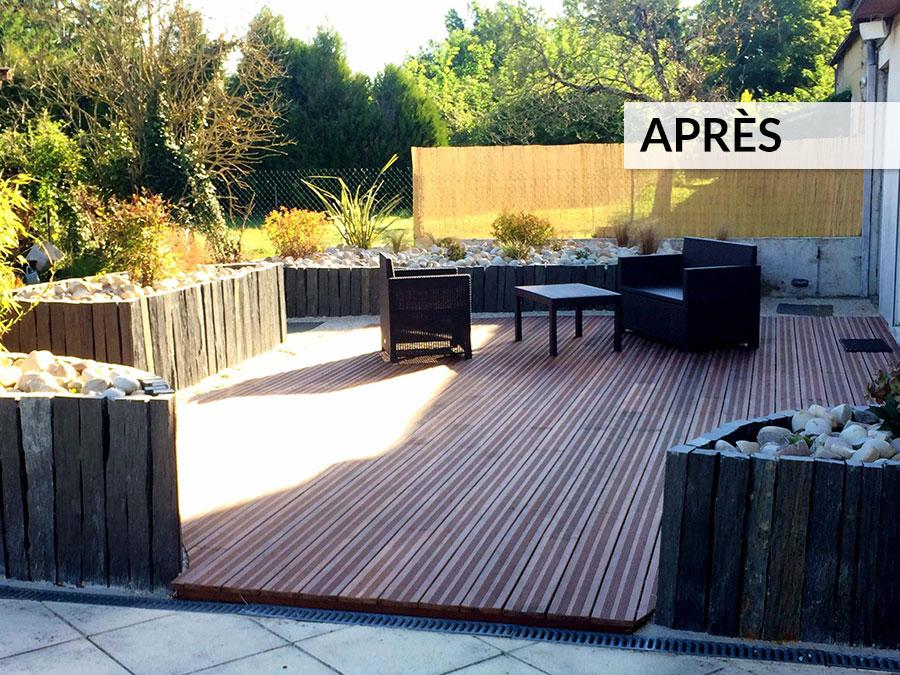 Aménagement terrasse bois AVANT / APRÈS - Lantana Paysage